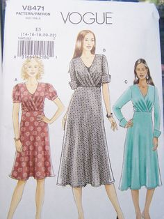 Vogue V8471 Sewing Pattern Women's Aline Wrap by WitsEndDesign, $10.00