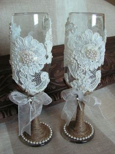 The perfect glasses for the bride & grooms wedding toast.This listing is for a set of two rustic wedding bride and groom champagne glasses . Great to