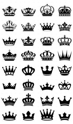 Buy 32 Royal Black Crowns by Moon_Designs on GraphicRiver. 32 Unique Royal black Crowns in different shapes. King Crown Tattoo, Small Crown Tattoo, Crown Tattoo Design, Crown Couple Tattoo, King Queen Tattoo, Tattoo Small, Crown Neck Tattoo, Cool Couple Tattoos, King Crown Drawing