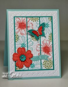 Love the center stamped piece cut into thirds. LW Designs: Flower Shop Thank You & Tip