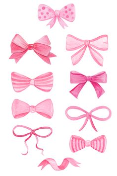 Watercolor pink bows and ribbons clipart for baby shower girl invitations - hair bow accessories - pink nursery decor, wall art, print. Available in etsy shop DreamLoudArt Baby Shower Invites For Girl, Girl Shower, Bow Drawing, Ribbon Clipart, Bow Image, Nursery Prints, Nursery Decor, Rainbow Ribbon, Ideias Diy