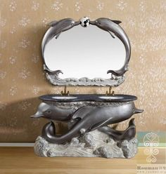 Dolphin Decorations for Ur Bathroom   Poly resin bathroom furniture Double double French dolphin wash basin ...