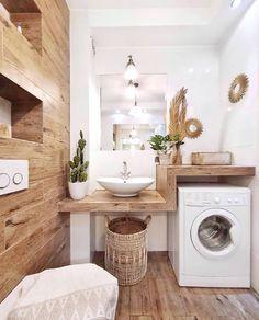 # Bathroom vinyl decor # Bathroom decor ideas small # Bathroom decor and tiles will be … – rustic home interior Laundry Room Design, Laundry In Bathroom, Small Bathroom, Bathroom Shelves, Bathroom Ideas, Wooden Bathroom, Laundry Rooms, Bathroom Vinyl, Bathroom Storage
