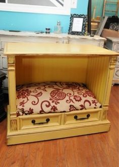 RePurposed Dog Bed – SO CUTE! Old cabinet TV repurposed to an end table with dog bed. Clever