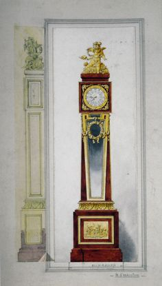 The Workshop Watercolour for the Apollo Régulateur - An Important Antique Exhibition Gilt-Bronze Mounted Regulator Longcase Clock by François Linke, After The Model by Balthazar Lieutaud and Phillipe Caffieri, French, Circa 1900.