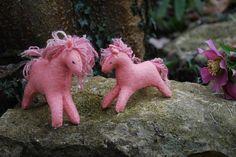 Felt Pink Horses felt animal felt animals wool animal