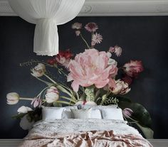 Julie by Sandberg - Pink / Black - Mural : Wallpaper Direct Bedroom Murals, Wall Murals, Bedroom Decor, Bedroom Inspo, Classic Wallpaper, Of Wallpaper, Sandberg Wallpaper, Black Wallpaper Bedroom, Boutique Wallpaper