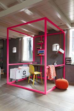 houten kubus frame - ruimte afscheiden