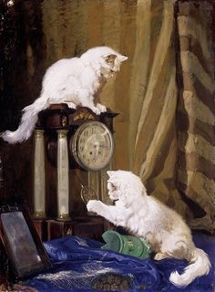 Arthur Heyer, Two Persian cats with a clock
