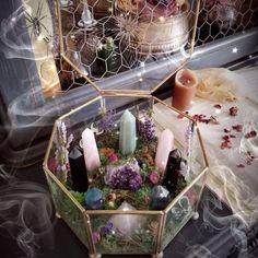 Crystal Garden - Crystal Terrarium - Healing Crystals - Terrarium Kit - Raw Crystals and Stones - Altar Decor - Wiccan - Pagan - Witch Crystal Altar, Crystal Garden, Crystal Decor, Crystal Healing, Crystal Room, Quartz Crystal, Healing Stones, Wiccan Decor, Spiritual Decor