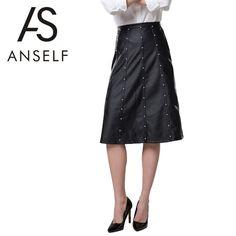 New Fashion Women Mid Skirt PU Leather Hight Waist Beading Decoration Zipper Fastening Slim Fit Black