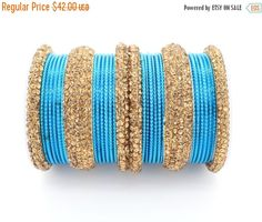 ON SALE 30 Turquoise Blue Gold Diamante Indian Bangles by Glimour