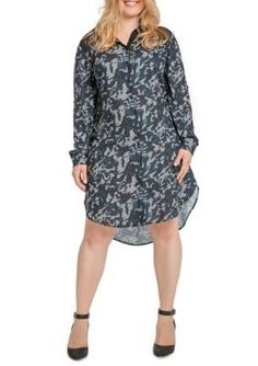 Standards and Practices Navy Camo Print Solemn Shirt Dress