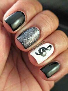 Treble clef manicure, black, white, glitter