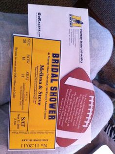 i designed bridal shower invitations that resemble football tickets because the bride to be