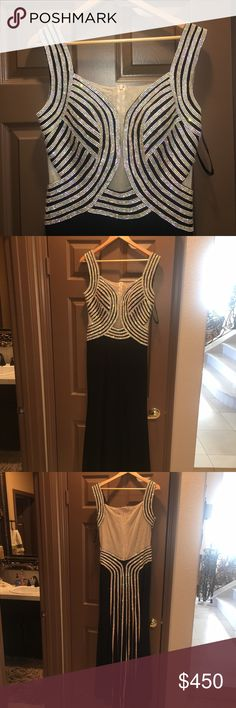JOVANI gorgeous rhinestone drip down dress! Elegant most fabulous Jovani dress with rhinestones front to back. Absolutely show stopper!!! The Jovani tag is missing because I had added nude to the back of the dress and alternation lady took the tag off, But the hanger strips shows that it is an authentic Jovani dress!!! Only worn once and in PERFECT condition ❤️ Jovani Dresses Wedding