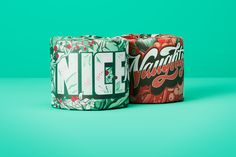 Naughty or Nice for Who Gives A Crap on Behance Coffee Cans, Typography, Behance, Nice, Illustration, Packaging, Decoration, Letterpress, Decor