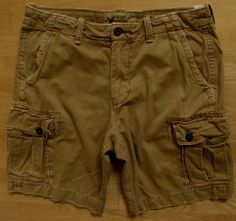 "American Eagle Cargo Shorts 36 Classic Length AE Men's Tan Brown Distressed 10"" #AmericanEagleOutfitters #Cargo"