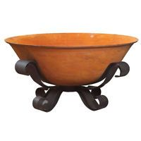 NEW Cast Iron Fire Pit Bowl with French Scroll Stand