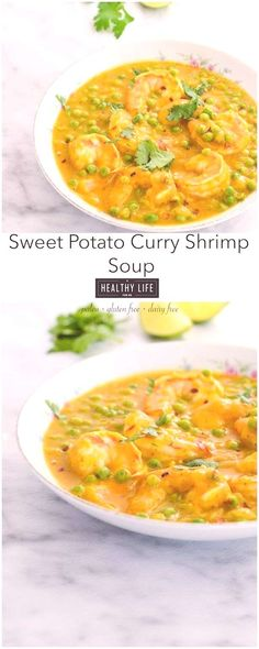 Sweet Potato Curry Shrimp Soup - A Healthy Life For MeYou can find Curry shrimp and more on our website.Sweet Potato Curry Shrimp Soup - A Healthy Life For Me Shrimp Soup, Curry Shrimp, Healthy Soup, Healthy Life, Sweet Potato Curry, Curry Soup, Cheeseburger Chowder, Meyou, Paleo