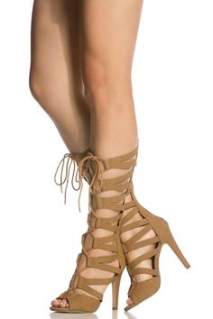 Tan Faux Nubuck Cut Out Lace Up Gladiator Heels