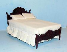 $70.00 ebay  BESPAQ CARVED MAHOGANY BED DOLLHOUSE FURNITURE MINIATURES