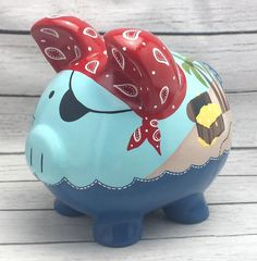 Personalized Piggy Bank Pirate Artisan hand painted ceramic