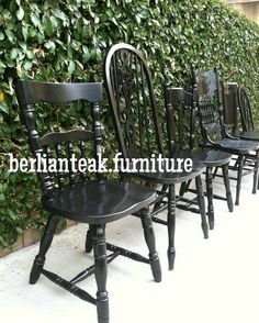 Distressed Black Vintage Dining Chairs, Set of 4, Mix & Match ...