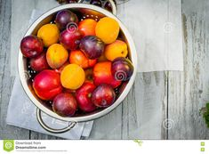 Stone Fruit On The Wooden Table Stock Photo - Image of detoxification, life: 76671052