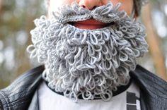 Fluffy crochet beard and moustache grey crochet by warmYourself