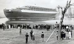 The QE2 was launched at the yard of John Brown in Clydebank, Scotland, pictured here , in 1967