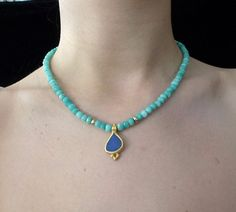 22K Gold Necklace Indigo Blue Opal Boulder Pendant by GenJewel
