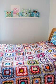 Traditional Granny Square blanket, violet color lacey join, very pretty.