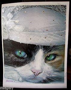 Mother of the Bride Cat Wedding Feline Kitty NFAC Avanti Original Painting 8x10