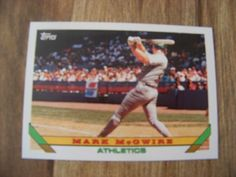 1993 Topps Mark McGwire BB Trading Card 1992 Oakland Athletics #100 - Vintage #Athletics #OaklandAthletics