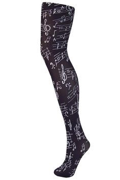 Flocked tights musical notes black