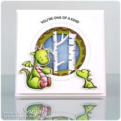 Birdie Brown Magical Dragons and Magical Unicorns stamp sets and Die-namics, Lisa Johnson Designs Peek-a-Boo Circle Windows, Lisa Johnson Designs Jumbo Peek-a-Boo Circle Windows, and Birch Trees Die-namics - Sonja Kerkhoffs #mftstamps