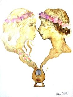 Sappho and the girl who was forced to leave the Lesbos thaisos wearing crowns of violets coffee painting - Sappho si iubita ei pictura facuta cu cafea Kid Icarus, Flash Tattoos, Coffee Painting, Love Design, The Girl Who, Lesbian, Online Printing, Love Her, Violets