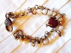 etsy handmade african jewelry | Pearl, Brass, Crystal, African Bone Bracelet, ... | Mere Trinkets H...