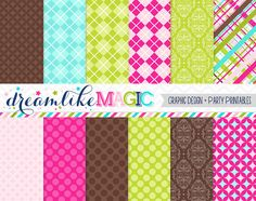 Brown Pink and Green Bunch Digital Paper Pack by DreamlikeMagic, $2.50