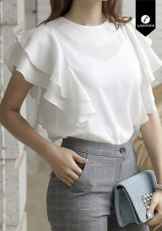 Short Sleeve Collared Shirts, Formal Tops, Trendy Outfits, Fashion Outfits, Modern Tops, Victoria Secret Outfits, Dress Indian Style, Contemporary Fashion, Casual Looks