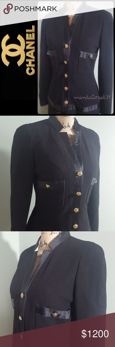 Chanel Boutique Blazer Chanel Designer Blazer Jacket in Stunning Fitted Style with Iconic Gold Tone Buttons! A Vintage From 80s Features the Designer's Boutique Collection! A Luxury Piece to Flaunt on Those Board Room Meetings!  Made in France with 5-Button Front Closure Opens to Fully Lined Interior with CC Signature Pattern! Front Two Chest Pockets with Button Closure! Measures Approx When Flat: Jacket Length 24 inches,  Armpit to Armpit 17 inches, Pit To Down 14 inches! Size US Small (Tag…