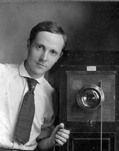 "Self-portrait with box camera, c.1910~ Edward Steichen (1876-1973) was a photographer, painter, & curator of an art gallery & museum. He was the most frequently featured photographer in ""Camera Work"" (1903 to 1917). His ""Little Galleries of the Photo-Secession"" (later known as 291), was among the first to present American exhibitions of Matisse, Rodin, Cézanne, & Picasso. Steichen's photos of gowns by couturier Paul Poiret are considered the first modern fashion photographs ever published."