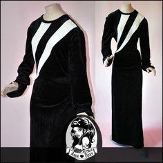 Vintage Velvet Black Art Deco Monochrome Block Colour 1960s MOD Maxi Dress UK16