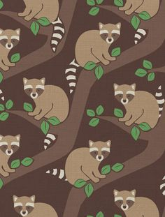 Raccoons Designer Fabric by Aimée Wilder Fabric: Fine Belgian Linen/Cotton Blend Length*: 1 yard (91.4 cm) Width*: 54 inches (137 cm) Strike off: 25 × 25 inches (63.5 × 63.5 cm) Sample: 9 × 12 inches
