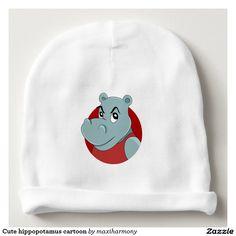 Cute hippopotamus cartoon baby beanie
