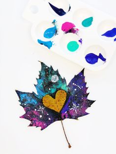 Leaf painting is a great craft for all ages. Learn the best leaf painting supplies to use and how to paint galaxy painted leaves. Galaxy Painting, Galaxy Art, Galaxy Background, Puffy Paint, Paint Brands, White Acrylic Paint, Painted Leaves, Watercolor Leaves, Paint Drying