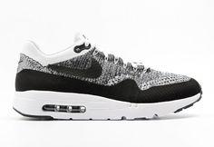 905c923c5ea Men s UK Nike Air Max 1 Ultra Flyknit Shoes White Black-Black 843384-100  Trainers UK Sale