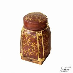 "Rice Basket Painting and Rattan Weaving Decorated. Hand-Painted Pot Traditional Authentic made of Bamboo from Thailand. 13"" Inches Hight."