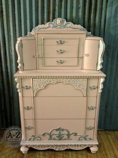 Antique chest painted by A to Z Custom Creations using Webster's Chalk Paint Powder, accented with metallic stencil creme